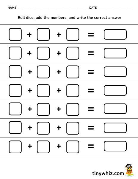 Free Printable Roll Dice And Add Blank Worksheet