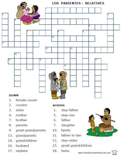 Free Printable Spanish Worksheet Family Vocabulary La Familia Los