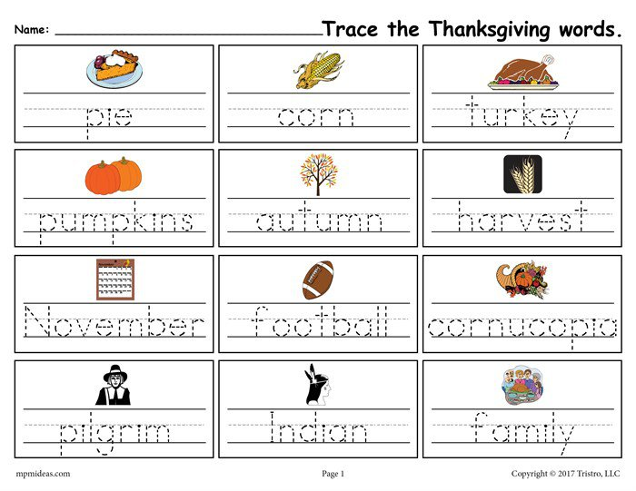 Free Printable Thanksgiving Words Handwriting & Tracing Worksheet!
