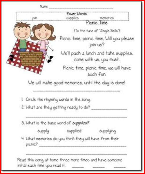 Free Printable Worksheets For 1st Grade Reading Comprehension