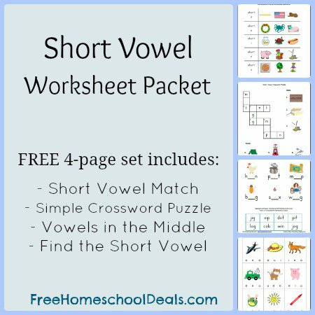 Free Short Vowel Worksheets  Short Vowel Match, Simple Crossword