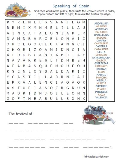 Free Spanish Speaking Countries Puzzles & Other Worksheets From