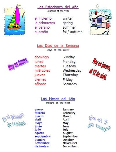 Free Spanish Time & Weather Worksheet Packet
