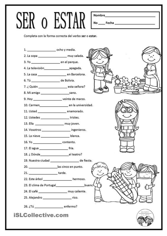 Free Spanish Worksheets  Ser O Estar  For Some Of These, Either
