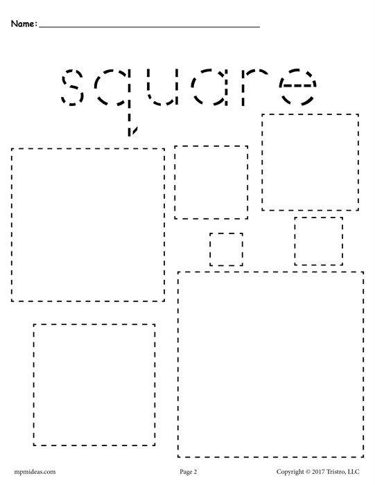 Free Squares Tracing Worksheet