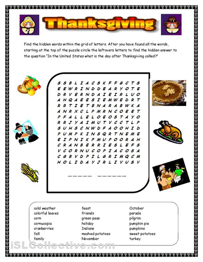 Free Thanksgiving Word Search Worksheets