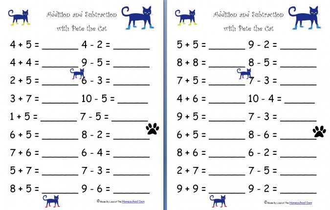 Free Worksheets  Addition And Subtraction With Pete The Cat