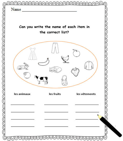 French Worksheet With Basic French Words,writing Activity,animals