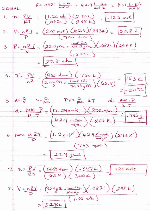 Gas Laws Worksheet With Answers Worksheets For All