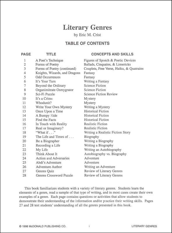 Genre Worksheet 1 Answers Worksheets For All