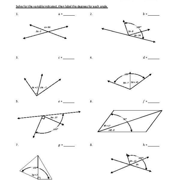 Geometry Vertical Angles Worksheet Worksheets For All