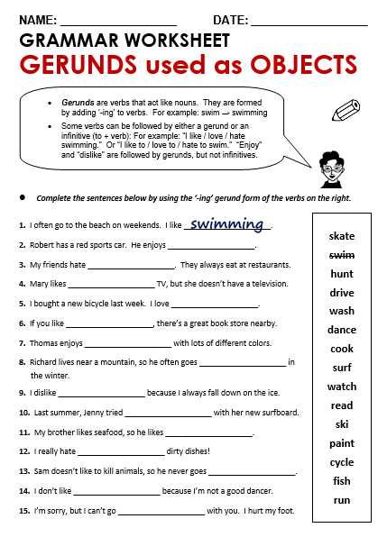 Gerunds Participles And Infinitives Worksheets The Best Worksheets
