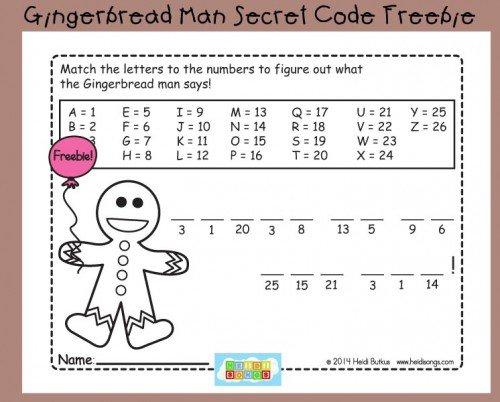 Gingerbread Man Secret Code Worksheet Freebie