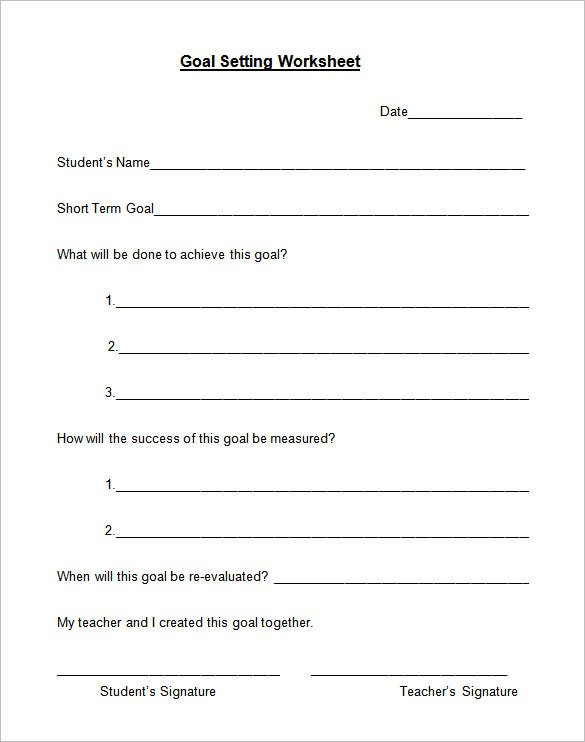 Goal Setting Worksheet Template Worksheets For All