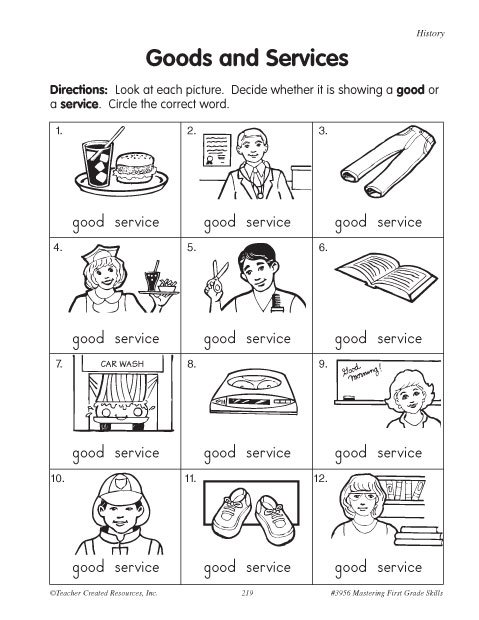 Goods And Services 2nd Grade