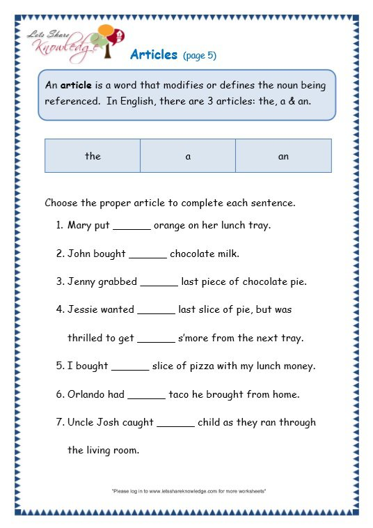 Grade 3 Grammar Topic 34  Articles Worksheets