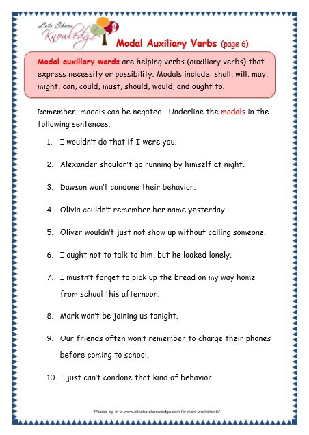 Grade 3 Grammar Topic 40  Modal Auxiliary Words Worksheets