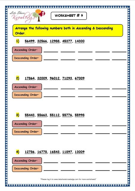 Grade 3 Maths Worksheets 5 Digit Numbers (2 11 Ascending And