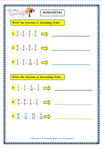 Grade 3 Maths Worksheets  (7 4 Ascending And Descending Order Of