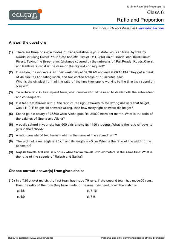 Grade 6 Math Worksheets And Problems  Ratio And Proportion