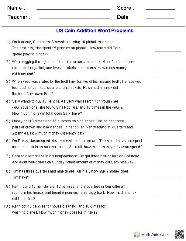 Grade Math Story Problems