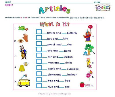 Grammar Worksheets  Grade 1