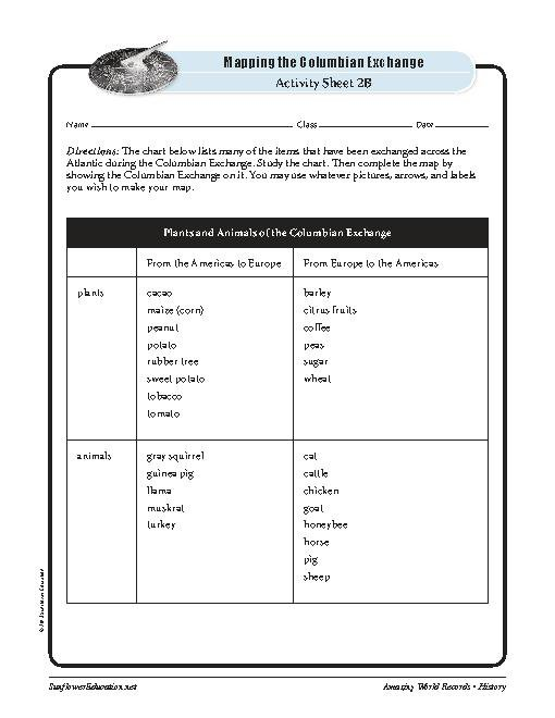 Greatest Movement The Columbian Exchange—history Worksheets And