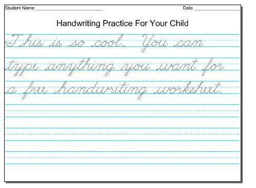 Handwriting Worksheet For 4th Grade
