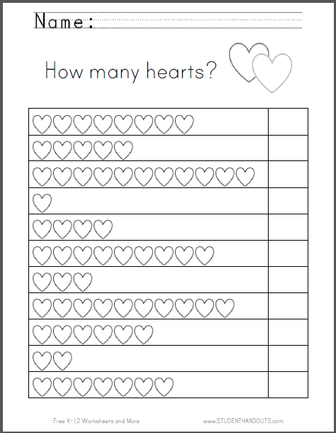 Hearts Counting Worksheet