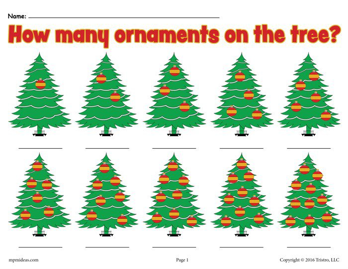 How Many Ornaments On The Tree   Free Printable Christmas Counting