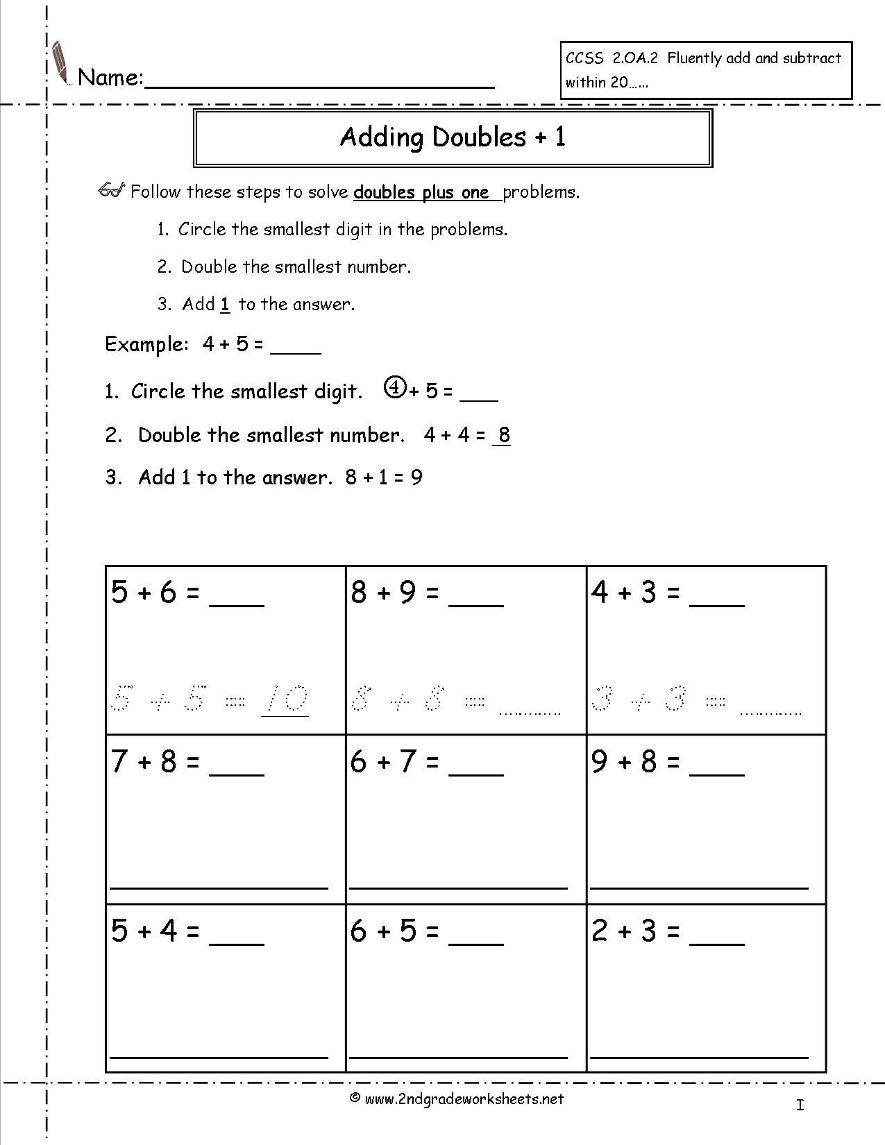 Ideas Collection Adding Doubles Plus One Worksheets In Download