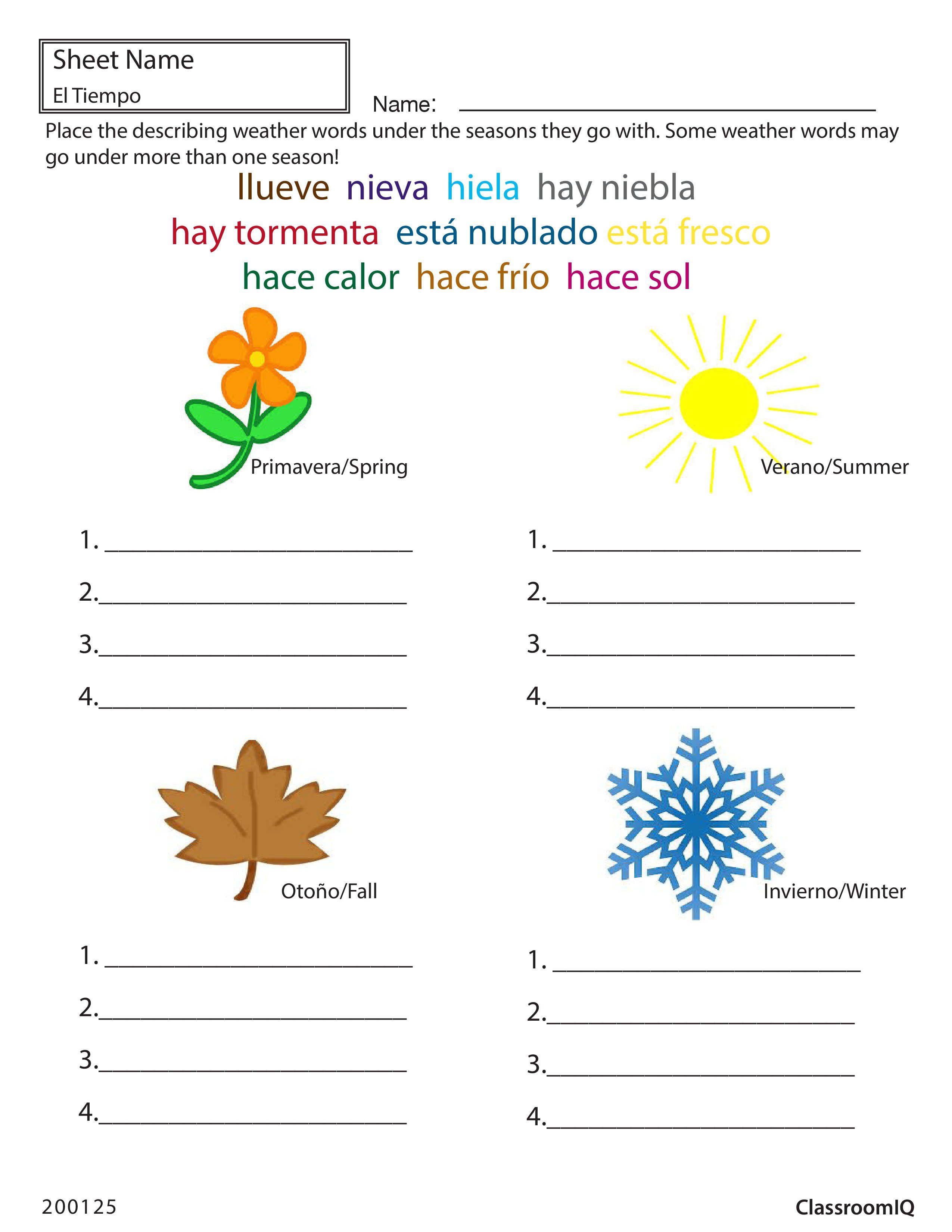 Ideas Of Spanish Weather And Seasons Worksheets In Download Resume