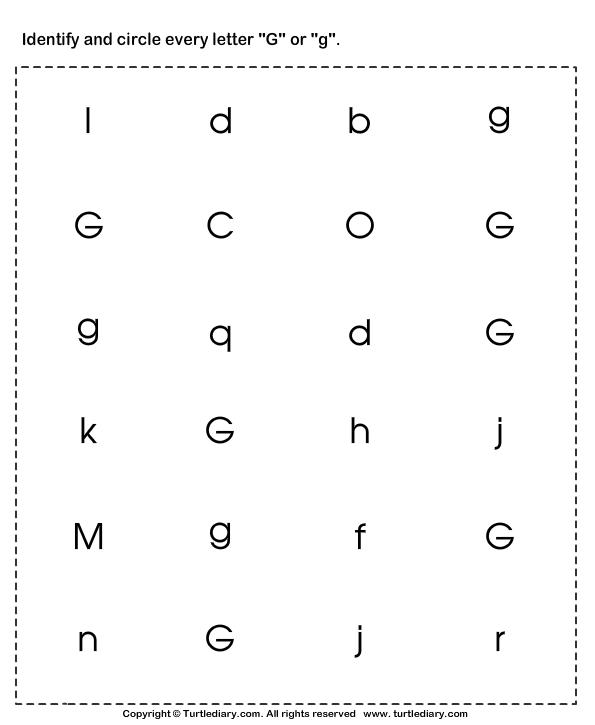 Identifying Lowercase And Uppercase Letter G Worksheet