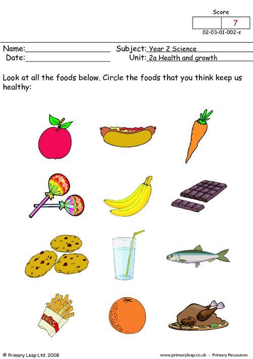 Image For Healthy Foods For Kids Worksheets