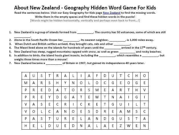 Image Of New Zealand Worksheet