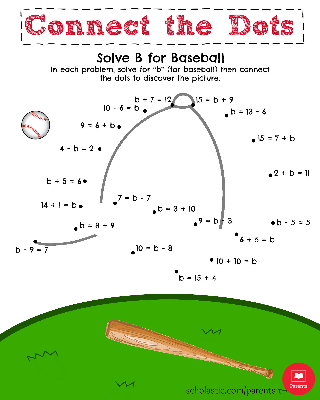 Kids  Kindergarten Math Practice Worksheets  Solve B For Baseball