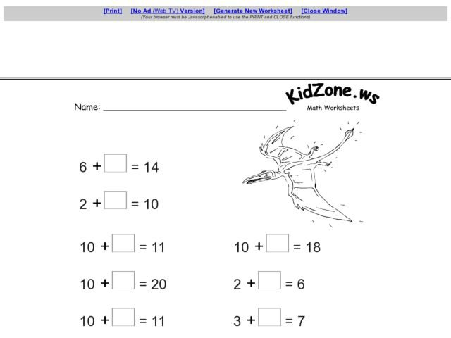Kidzone Worksheets