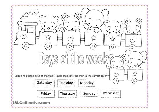 Kindergarten Days Of The Week Worksheets