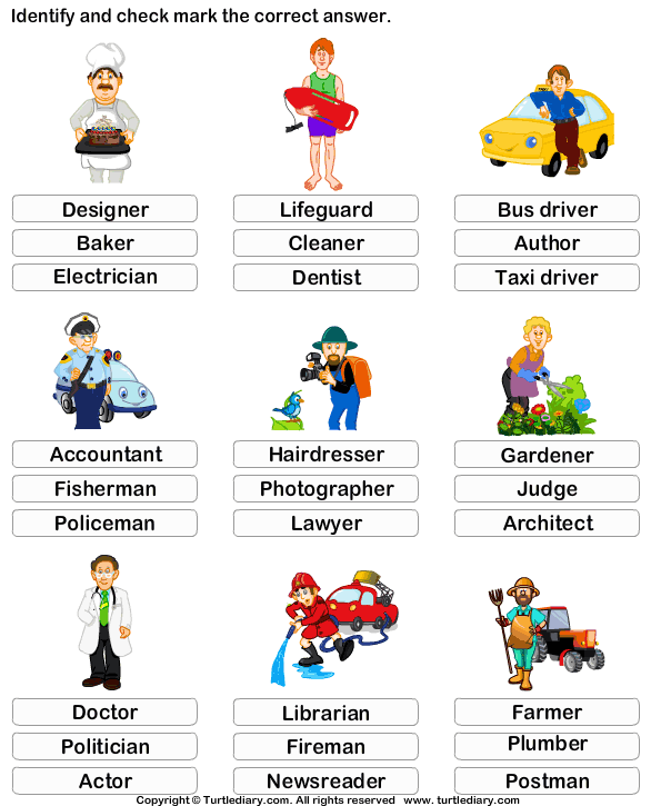 Kindergarten Vocabulary Worksheet  Identify The Job