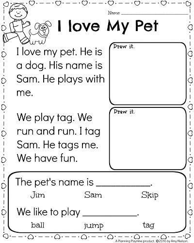 Kindergarten Worksheets Reading