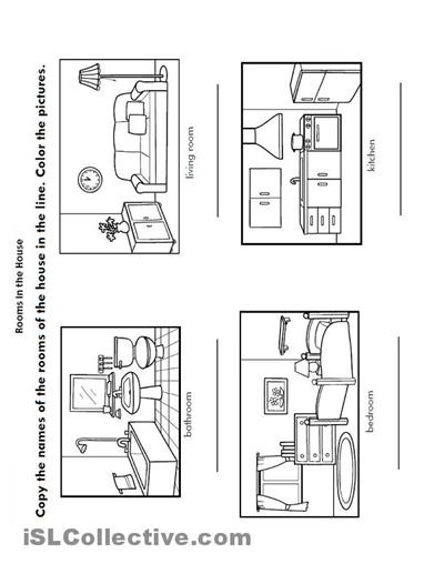 Kindergarten Worksheets Rooms Of The House  1