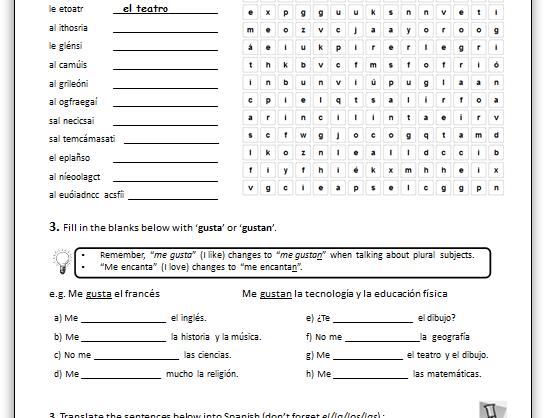 Ks3 Spanish  Opinions On School Subjects (worksheet) By Adj26