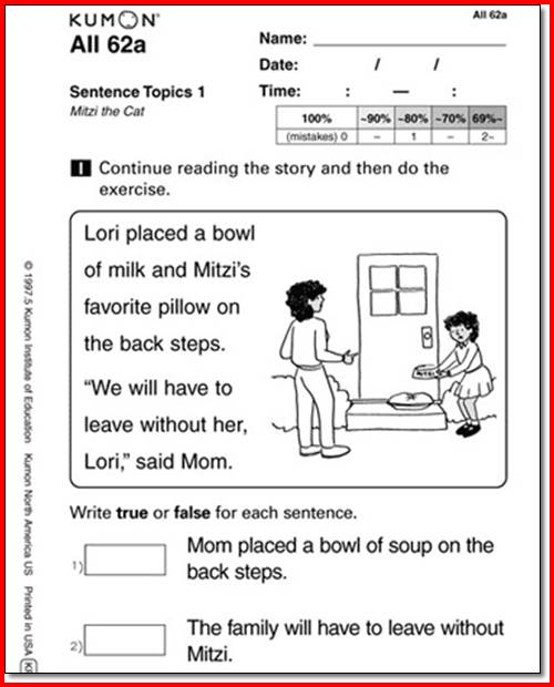 Kumon Reading Worksheets Free Library Download And Worksheets