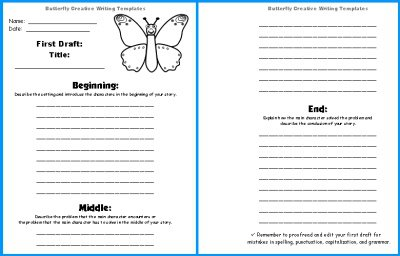 Large Butterfly Writing Templates  Butterfly Shaped Creative