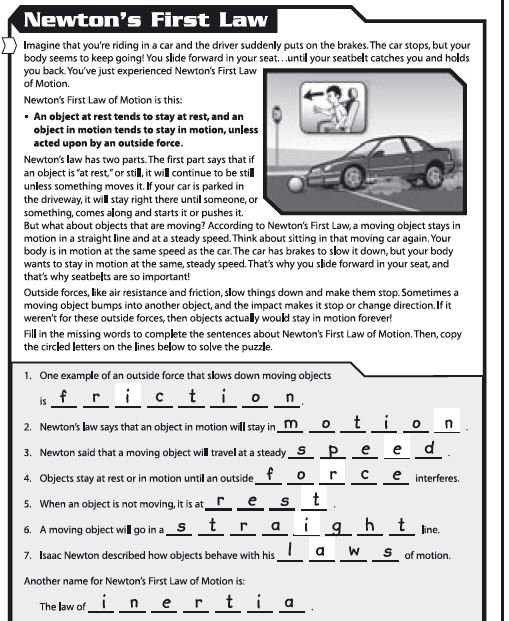 Laws Of Motion Worksheets