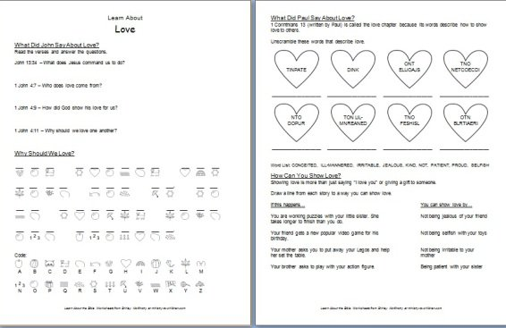 """Learn About Love"""" Bible Worksheets"""