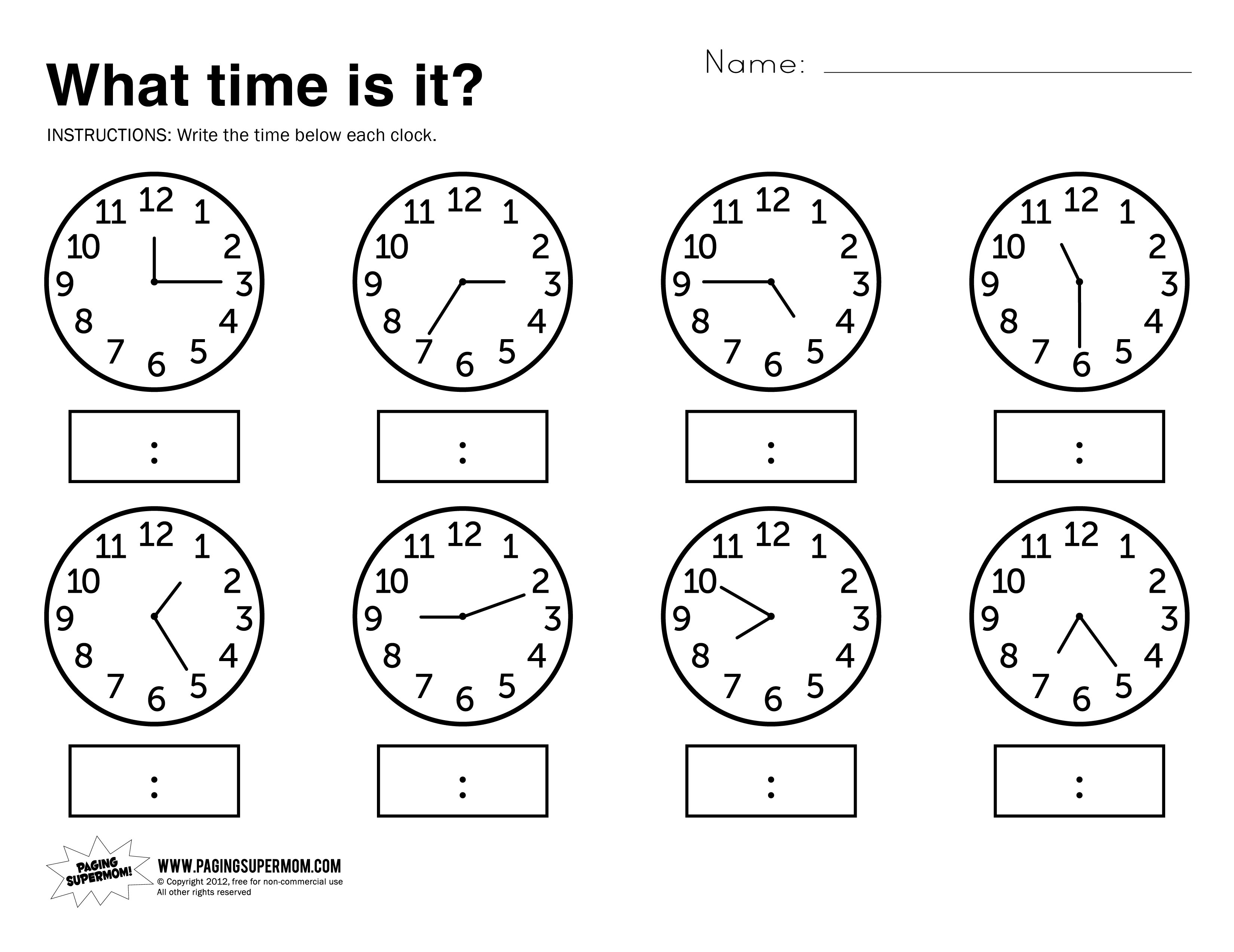 Learning Time Worksheets