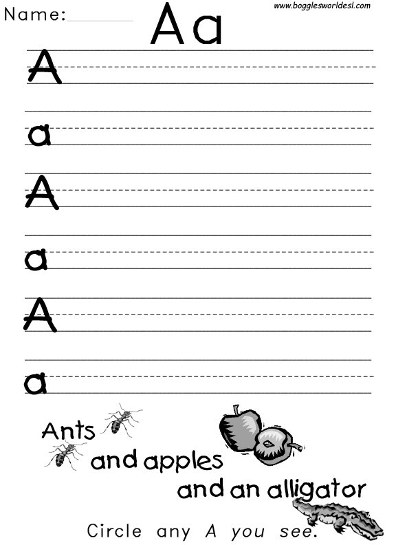 Letter A Handwriting Worksheet Free Worksheets Library