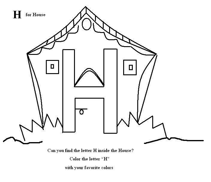 Letter H Coloring Printable Page For Kids