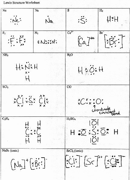 Lewis Structure Worksheet Answer Key Electron Dot Diagrams And
